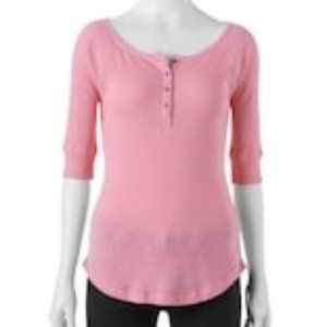 Sonoma Ribbed Button Henley Top Pink Tee Size XL
